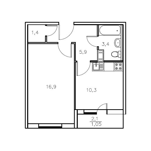 Планировка Однокомнатная квартира площадью 37.9 кв.м в ЖК «Мандарин»