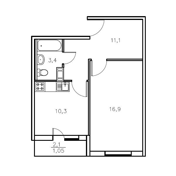 Планировка Однокомнатная квартира площадью 41.7 кв.м в ЖК «Мандарин»