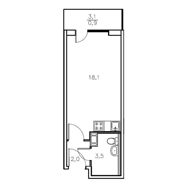 Планировка Студия площадью 23.6 кв.м в ЖК «Мандарин»