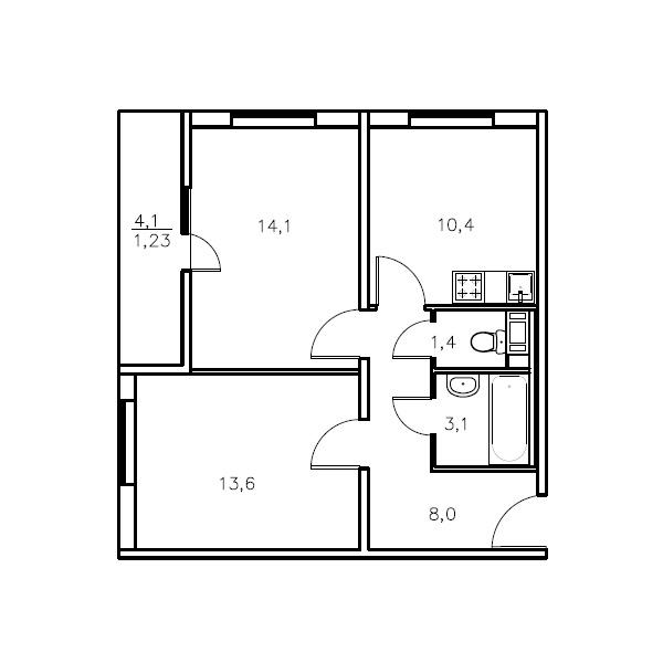 Планировка Двухкомнатная квартира площадью 50.6 кв.м в ЖК «Мандарин»